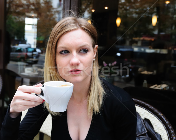 Outdoor portret jonge vrouw vrouwelijke cafe oog Stockfoto © ilolab