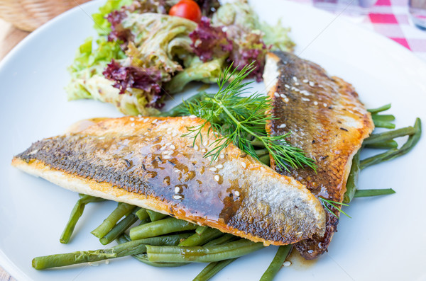 焼き 魚 シーフード 野菜 皿 ストックフォト © ilolab