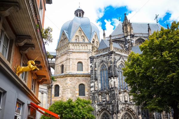 Belle vue sur la rue traditionnel vieux bâtiments Allemagne Photo stock © ilolab