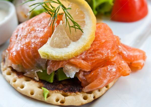 Zdjęcia stock: świeże · łososia · cytryny · chleba · ryb · liści