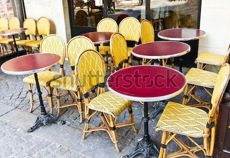 Vue sur la rue café terrasse vide fête restaurant Photo stock © ilolab
