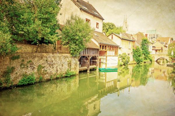 Retro antigo aldeia França europa céu Foto stock © ilolab