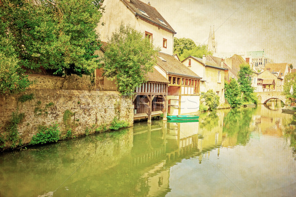 Retro Antique Village in france Europe Stock photo © ilolab