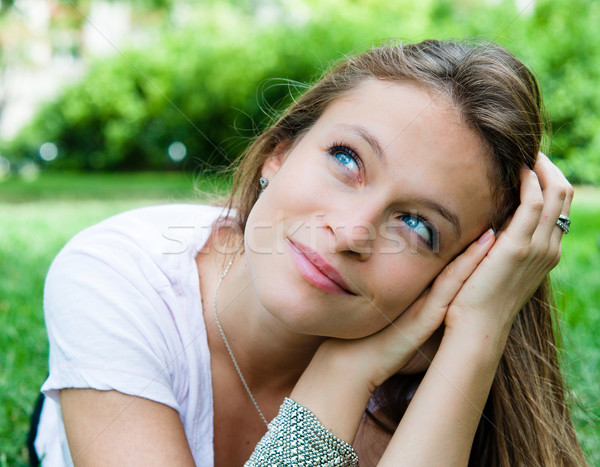 Stock photo: beautiful young attractive woman outdoors portrait of thinking w