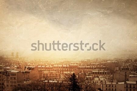 Retro tarzı montmartre güzel paris sokaklarda uzay Stok fotoğraf © ilolab