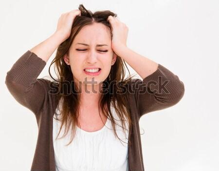 Fiatal pánik nő kezek fej szemek Stock fotó © ilolab