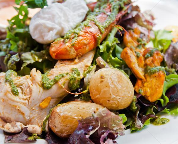 ストックフォト: 新鮮な · チキンサラダ · トマト · チーズ · 油 · ディナー