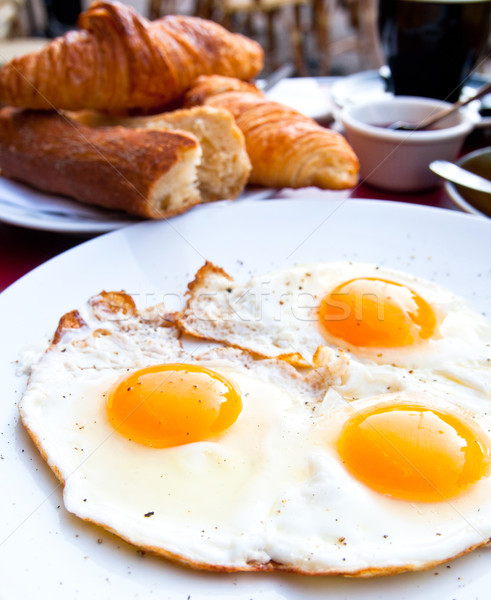 Breakfast with coffee and prepared egg Stock photo © ilolab
