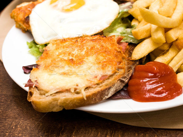 French Toasted Sandwich - croque madame Stock photo © ilolab
