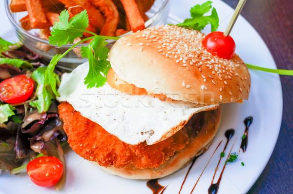 Stockfoto: Amerikaanse · kaas · kip · hamburger · vers · salade