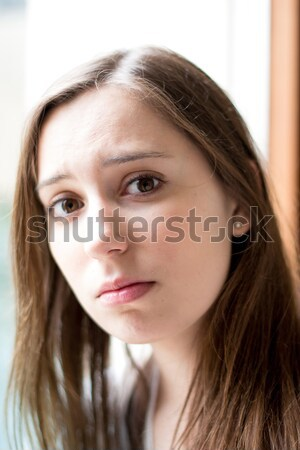 Szomorú nő lehangolt fehér kezek haj Stock fotó © ilolab