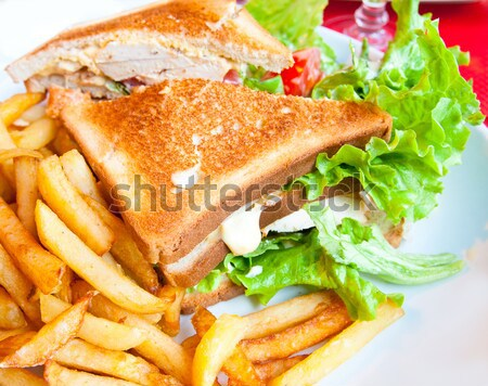 Sandwich with bacon - chicken, cheese and lettuce Stock photo © ilolab