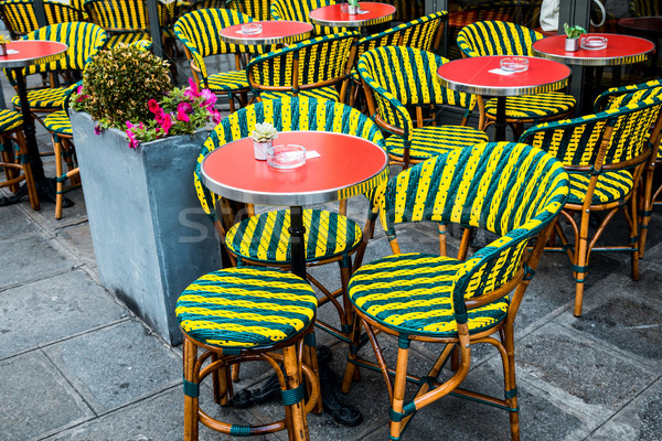 Street view of a coffee terrace with tables and chairs in europe Stock photo © ilolab