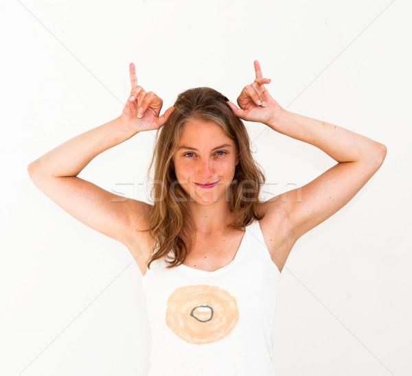 Vache drôle fille femme modèle Photo stock © ilolab