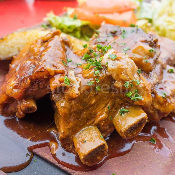 ızgara ızgara biftek plaka sıcak sos Stok fotoğraf © ilolab