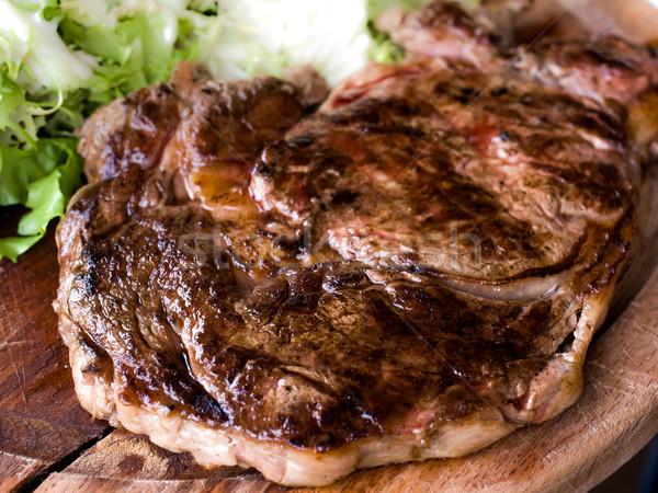 ızgara biftek ızgara plaka sıcak sos Stok fotoğraf © ilolab