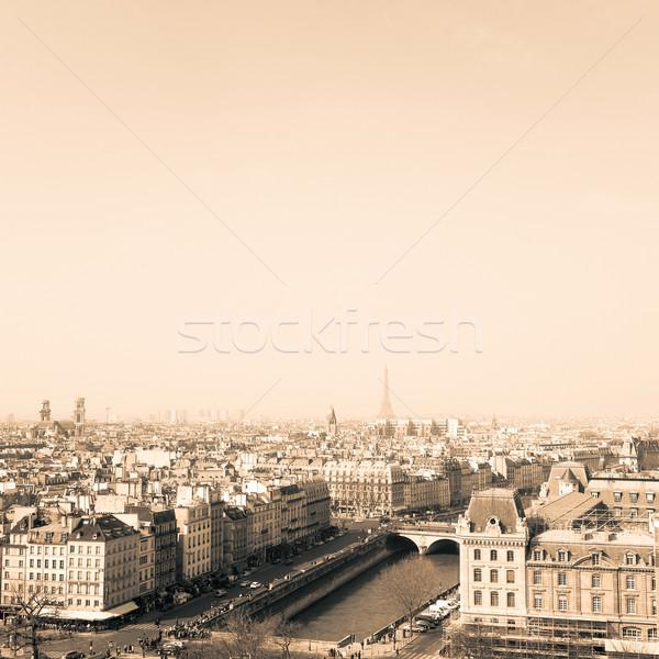 Antik város épület égbolt ház kék Stock fotó © ilolab