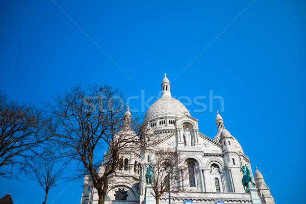 Kerk hart Blauw reizen aanbidden vakantie Stockfoto © ilolab