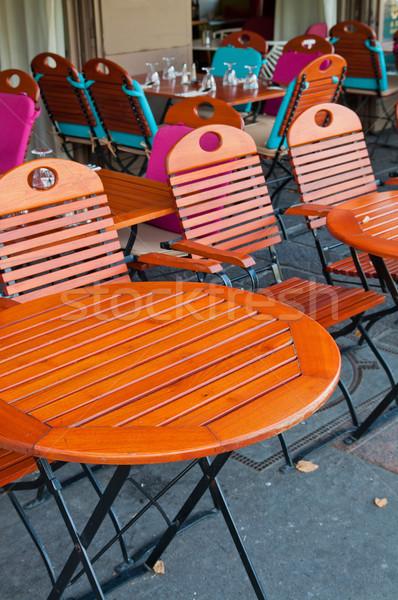 Vide café terrasse fête restaurant table Photo stock © ilolab