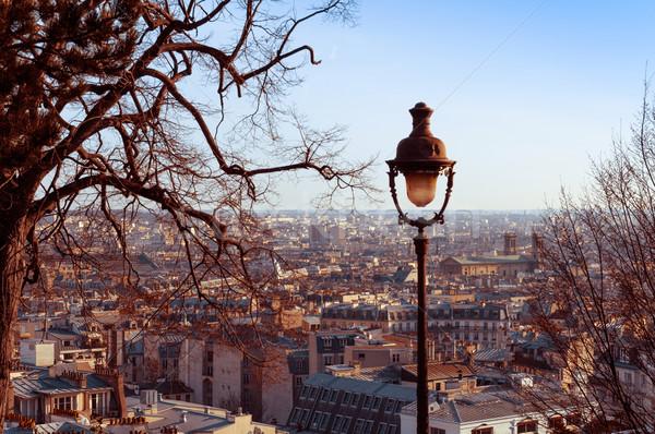 Montmartre papier behang vintage Europa antieke Stockfoto © ilolab