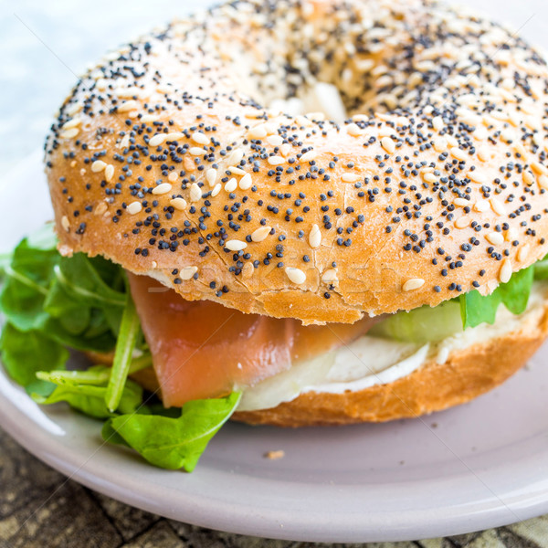 Fresh Salmon Bagel  Stock photo © ilolab