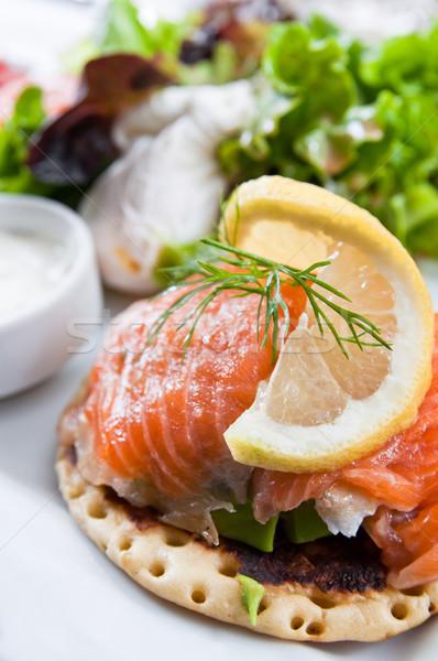 Zdjęcia stock: świeże · łososia · Sałatka · pomidory · żywności · oleju