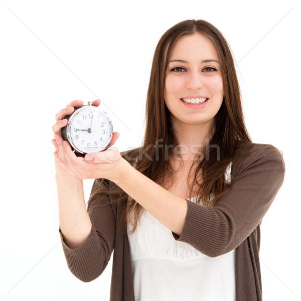 女性 目覚まし時計 美しい 若い女性 少女 ストックフォト © ilolab