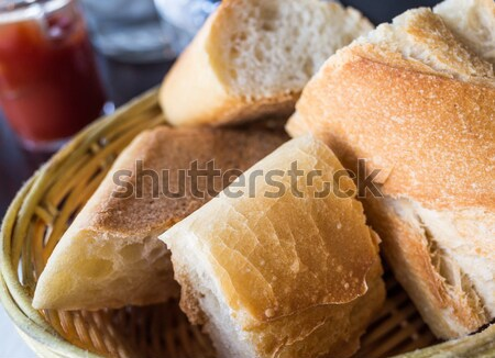 little roll breads in basket on table Stock photo © ilolab