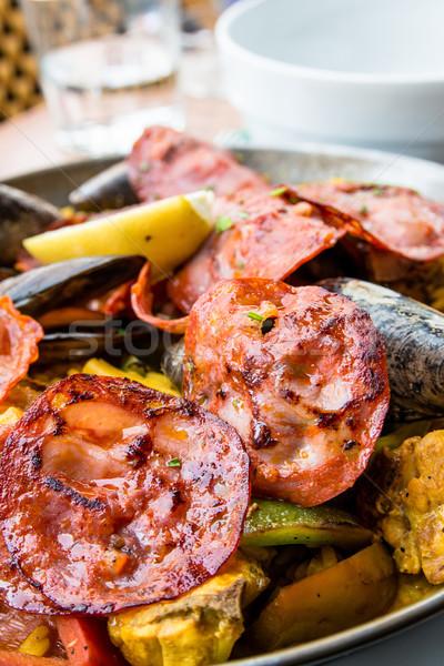 ストックフォト: スペイン料理 · エビ · コメ · クローズアップ · 食品 · 魚