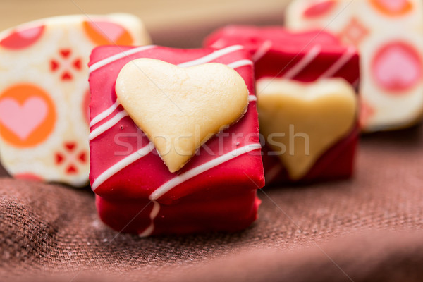 sweet heart shaped chocolates candies Stock photo © ilolab