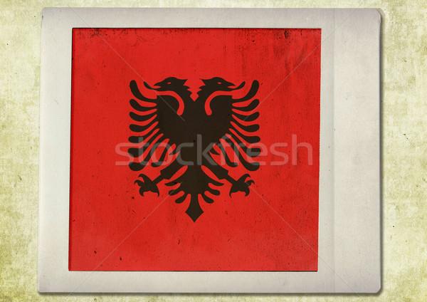 flag of vintage instant photo,albania Stock photo © ilolab