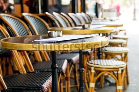 Vista de la calle Servicio terraza vacío fiesta restaurante Foto stock © ilolab