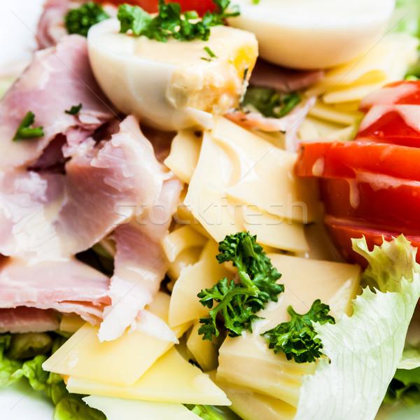 Lezzetli taze salata zeytinyağı akşam yemeği zeytin Stok fotoğraf © ilolab