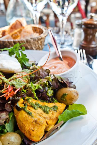 Taze tavuk salatası zeytinyağı peynir yağ akşam yemeği Stok fotoğraf © ilolab