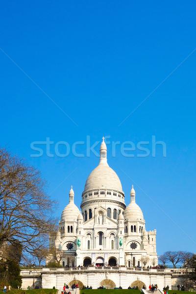 Kilise montmartre mavi seyahat ibadet Tanrı Stok fotoğraf © ilolab
