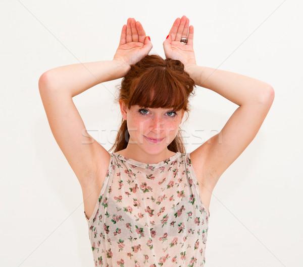 Lapin jeune femme beauté amusement portrait Photo stock © ilolab