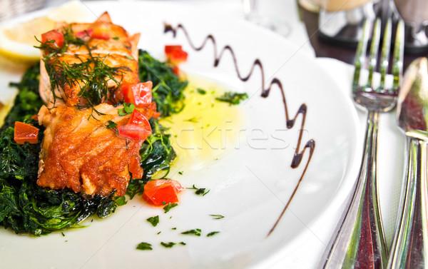 гриль лосося лимона Французская кухня блюдо томатный Сток-фото © ilolab