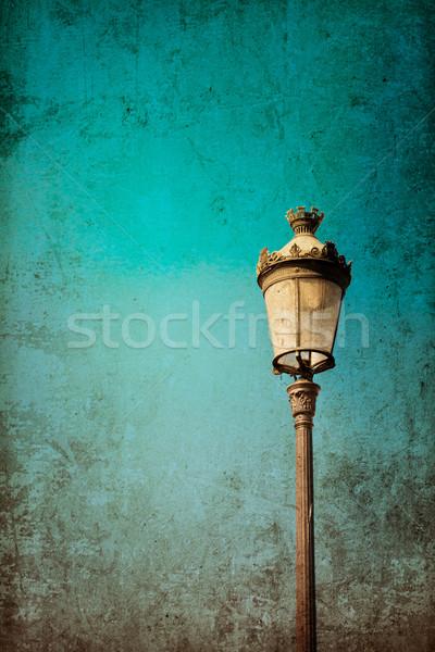 Retró stílus antik épület fény kék utazás Stock fotó © ilolab