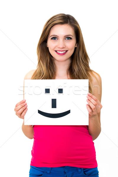 Vrouw boord glimlach gezicht teken portret Stockfoto © ilolab