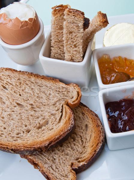 Kahvaltı taze meyve reçel tablo turuncu ekmek Stok fotoğraf © ilolab