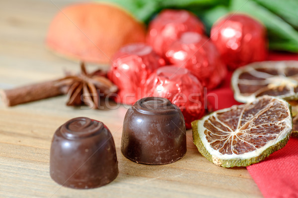 Chocolade houten tafel voedsel liefde Rood Stockfoto © ilolab
