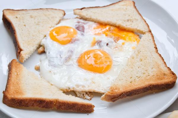 Tükörtojás szalonna reggeli étel étterem kenyér Stock fotó © ilolab