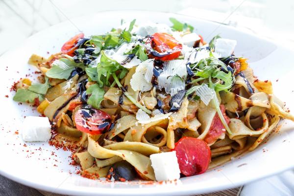 Spaghetti with aubergine and tomato Stock photo © ilolab