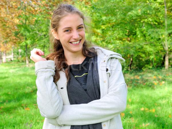 屋外 肖像 若い女性 緑 庭園 女性 ストックフォト © ilolab