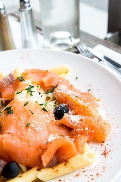 Pasta primo piano piatto pomodoro pesce Foto d'archivio © ilolab