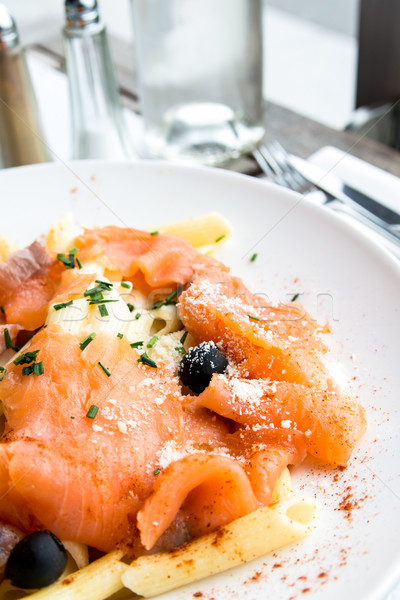 Makarna plaka domates balık Stok fotoğraf © ilolab