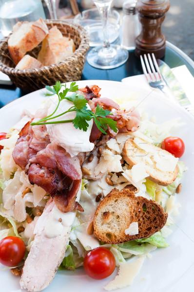 Taze tavuk salatası domates yaprak tavuk yağ Stok fotoğraf © ilolab