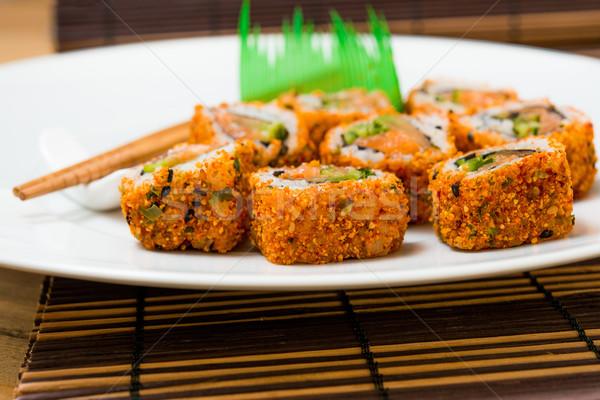 свежие суши традиционный японская еда таблице рыбы Сток-фото © ilolab