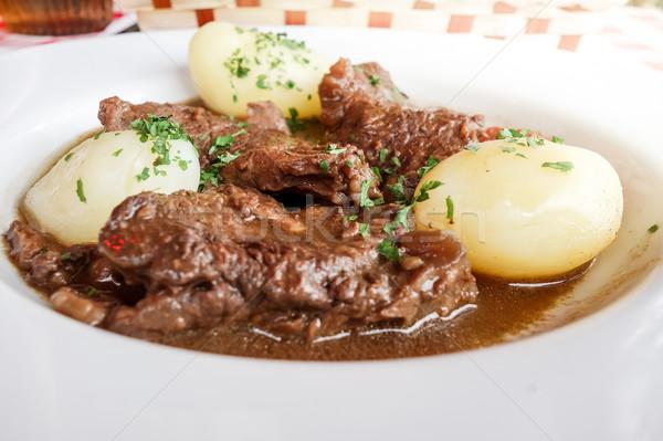 Red wine cock-delicious french recipe coq au vin Stock photo © ilolab