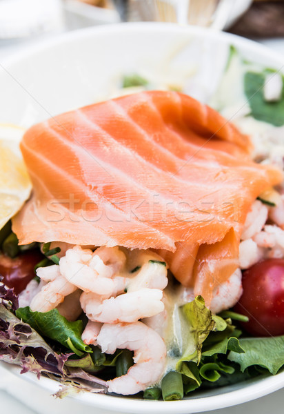 Taze deniz ürünleri salata balık yaprak Stok fotoğraf © ilolab